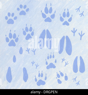Acrylic illustration of animals footprints in the snow - Stock Photo