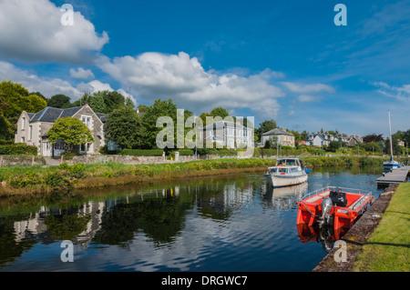 Cabin Cruiser in Crinan Canal at Ardrishaig Argyll & Bute Scotland - Stock Photo