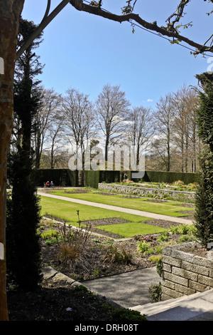 The formal garden of Castle Drogo, Drewsteignton, Exeter, Devon, Great Britain. - Stock Photo