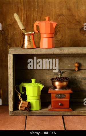 set of different kitchen utensils for coffee (old fashioned style) - Stock Photo