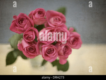 Pink flowers in vase - Stock Photo