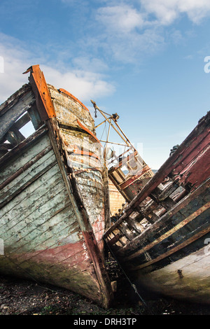 Beached Derelict Boats on the Isle of Mull in Scotland. - Stock Photo