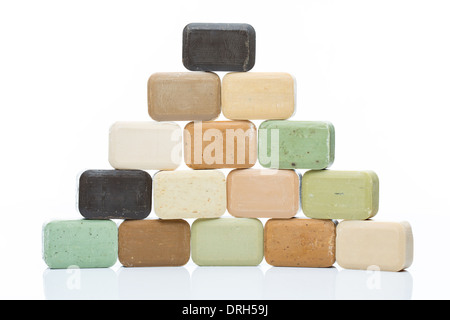 Color pyramid made from different natural olive soap bars - Stock Photo