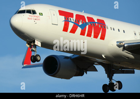 TAM Airlines is the Brazilian brand of LATAM Airlines Group.767 PT-MSS pictured here is landing at London Heathrow. - Stock Photo