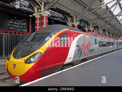 Fly Virgin Trains UK - Liverpool Lime St to Euston - red white & gray livery - Stock Photo