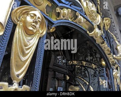 Ornate gold entrance to the Philharmonic Dining Rooms in Hope St, Liverpool,  England UK - Stock Photo