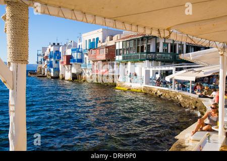 Little Venice area of Mykonos Cyclades Greece - Stock Photo