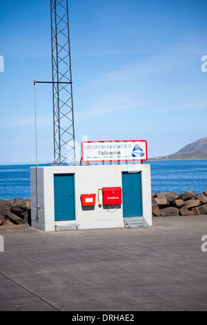 The 'Welcome to Grundarfjordur' sign at the port in Grundarfjordur, Iceland - Stock Photo