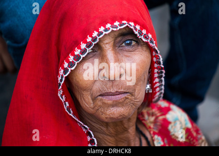 Elderly woman in Bagar, Rajasthan, India - Stock Photo