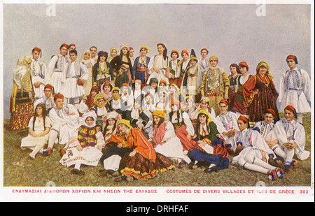 Villagers of Greek Islands in various costumes - Stock Photo