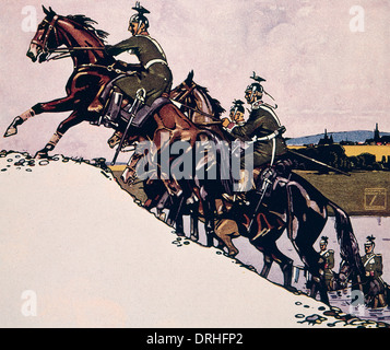 German Uhlans climbing a hill on horseback, WW1 - Stock Photo