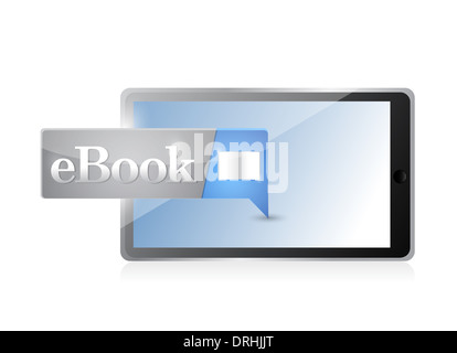 tablet Ebook icon button blue download illustration design - Stock Photo