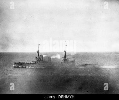 HMS Inflexible, British battlecruiser, Falklands, WW1 - Stock Photo