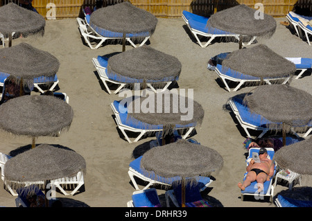 Playa de Calahonda (Calahonda Beach), view from Balcon de Europa (Balcony of Europe), Nerja, Costa del Sol. Malaga - Stock Photo