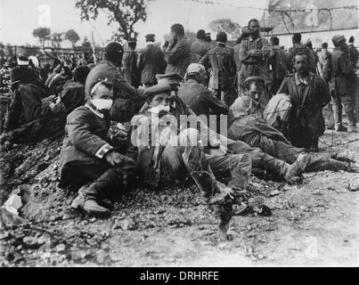 Wounded German prisoners of war, WW1 - Stock Photo
