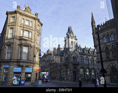 Bradford, West Yorkshire, England, Natwest Bank, YMCA charity shop on New Market Place, Hustlergate - Stock Photo