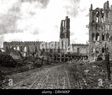 Ruins of the Cloth Hall, Ypres, Belgium, WW1 - Stock Photo