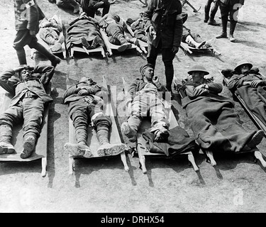 wounded ww1 soldiers on stretchers waiting for evacuation from stock photo 29205090 alamy. Black Bedroom Furniture Sets. Home Design Ideas