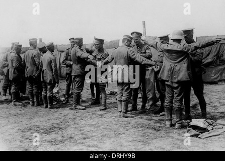 British soldiers searching prisoners, Western Front, WW1 - Stock Photo