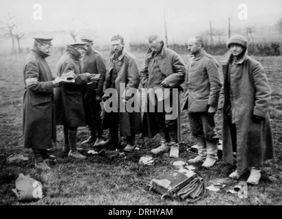 German prisoners being searched, Western Front, WW1 - Stock Photo