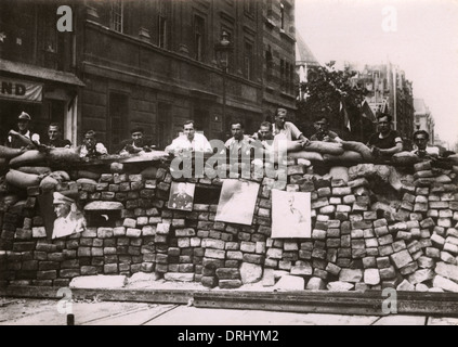 WWII - Barricade on Rue Saint-Jacques - Liberation of Paris - Stock Photo