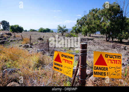 Mine field in Golan Heights in Israel - Stock Photo