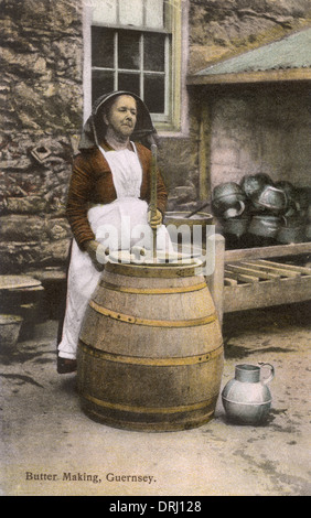 Making Butter, Guernsey, Channel Islands - Stock Photo
