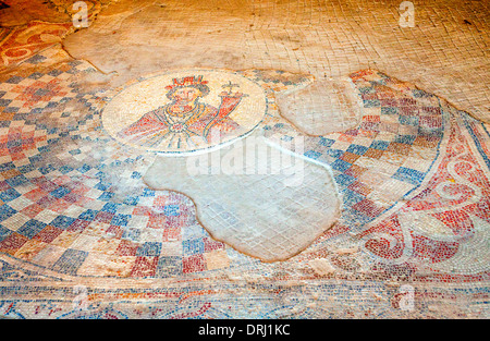 Floor mosaic in the city of Beit She'an in Israel - Stock Photo