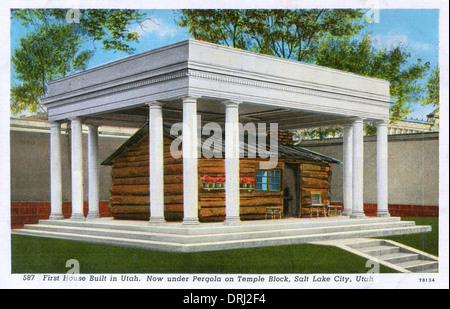 First House built in Utah - Deuel Cabin, Salt Lake City - Stock Photo