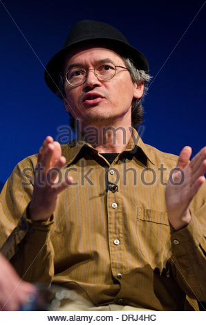 American-Maltese comic book author Joe Sacco gives a speech at the Edinburgh International Book Festival 2013. - Stock Photo