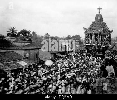 Crowd of people with Festival Car, India - Stock Photo