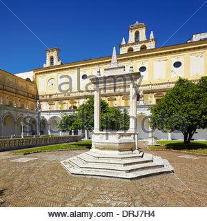 the great cloister of the certosa di san martino, naples, campania, italy, europe - Stock Photo