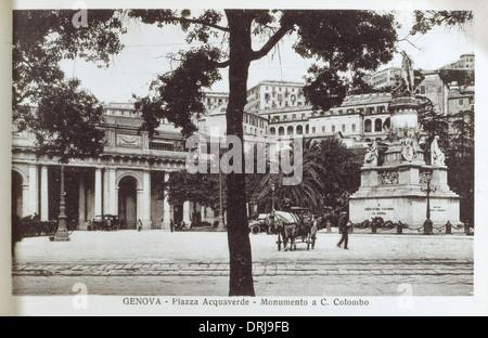 Italy, Genoa - Piazza Acquaverde - Monument to Columbus - Stock Photo