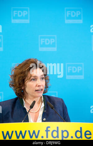 Berlin, Germany. 27th Jan, 2014.  FDP General Secretary Nicola Beer give some declarations to the press after Party - Stock Photo