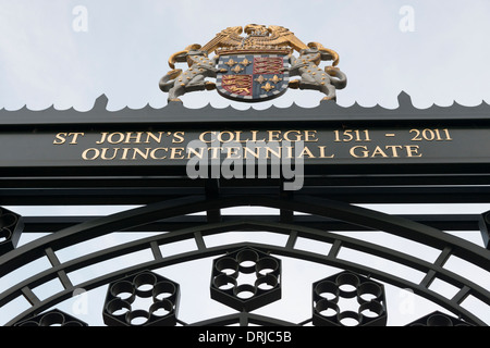 The quincentennial gate sign at the entrance to St John's College Cambridge University UK - Stock Photo
