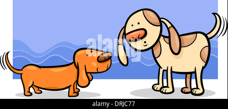 Cartoon Illustration of Two Funny Dogs Wagging their Tails - Stock Photo