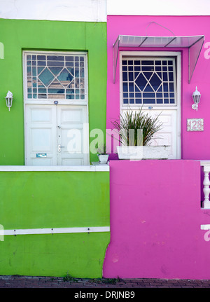 coloured houses in Bo Kaap, Malayan, moslimisches quarter, Capetown, west cape, western cape, South Africa, Africa, - Stock Photo