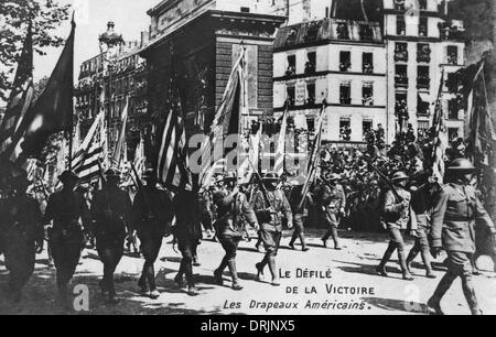 American soldiers on a victory parade in Paris. - Stock Photo