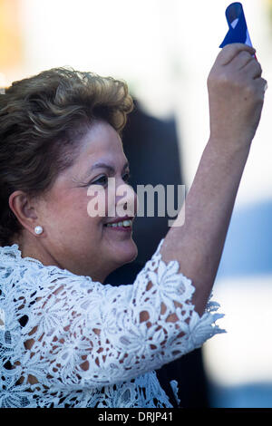 Mariel Port, Cuba. 27th Jan, 2014. Brazil's President Dilma Rousseff attends the inauguration ceremony of the first - Stock Photo