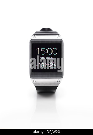 Samsung Galaxy Gear smartwatch showing time and weather. Isolated watch on white background with clipping path. - Stock Photo