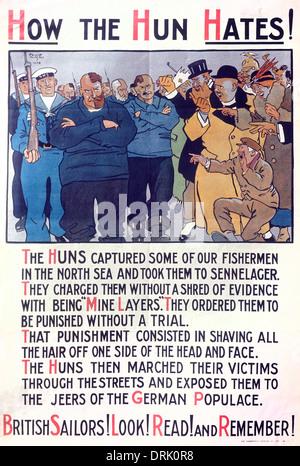 Poster, captured British fishermen, WW1 - Stock Photo