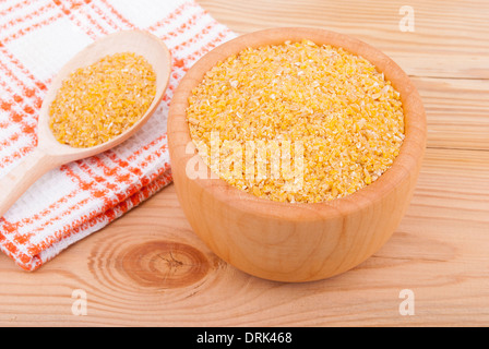 Wheat cereal in a bowl on the table. - Stock Photo