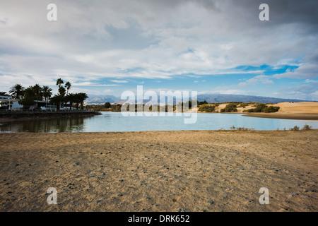 La Charca de Maspalomas, a marine wetland nature reserve in the holiday resort of Maspalomas, Gran Canaria, Canary - Stock Photo