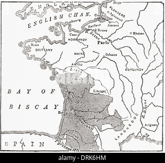 Map showing the English dominions in France at the time of the Treaty of Brétigny, 1360. - Stock Photo
