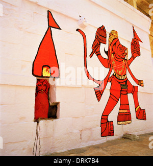 Street art in Jaisalmer in Rajasthan in India in South Asia. Urban Culture Cultural Color Colour Symbolism Hindu - Stock Photo