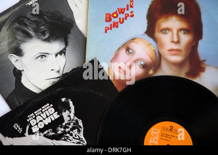 David Bowie LP and covers - Stock Photo