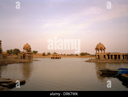 Gadisar Lake in Jaisalmer in Rajasthan in India in South Asia. Serenity Landscape Tranquillity Peace Sky Beauty - Stock Photo