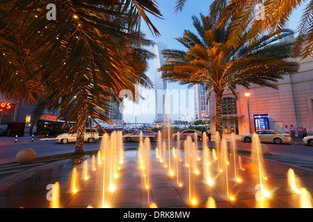 Dubai Marina, fountain - Stock Photo