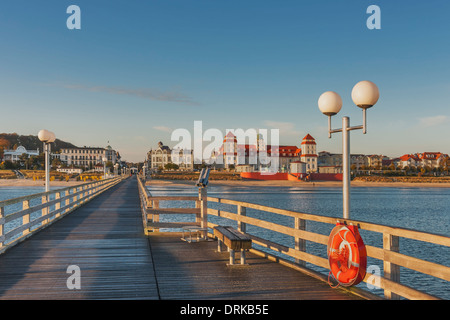 Kurhaus Binz viewed from the pier, Binz, Ruegen Island, County Vorpommern-Ruegen, Mecklenburg-Western Pomerania, - Stock Photo