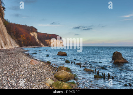 Steep coast with chalk cliffs on the Baltic Sea, Ruegen Island, Mecklenburg-Western Pomerania, Germany, Europe - Stock Photo